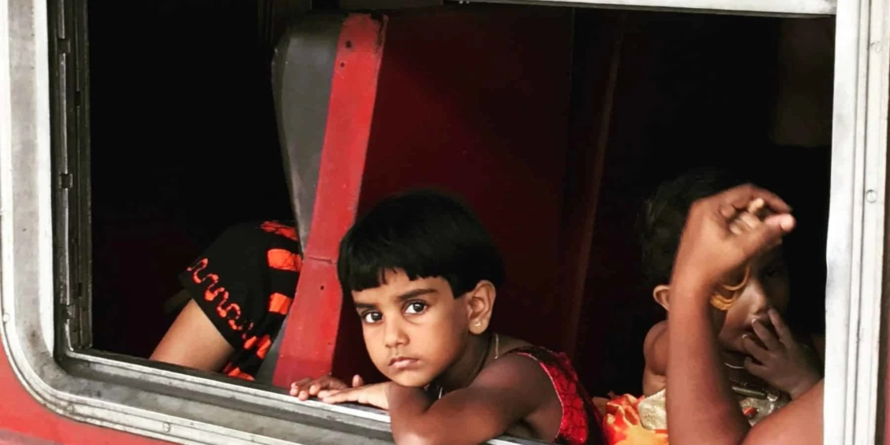 Child on train in India
