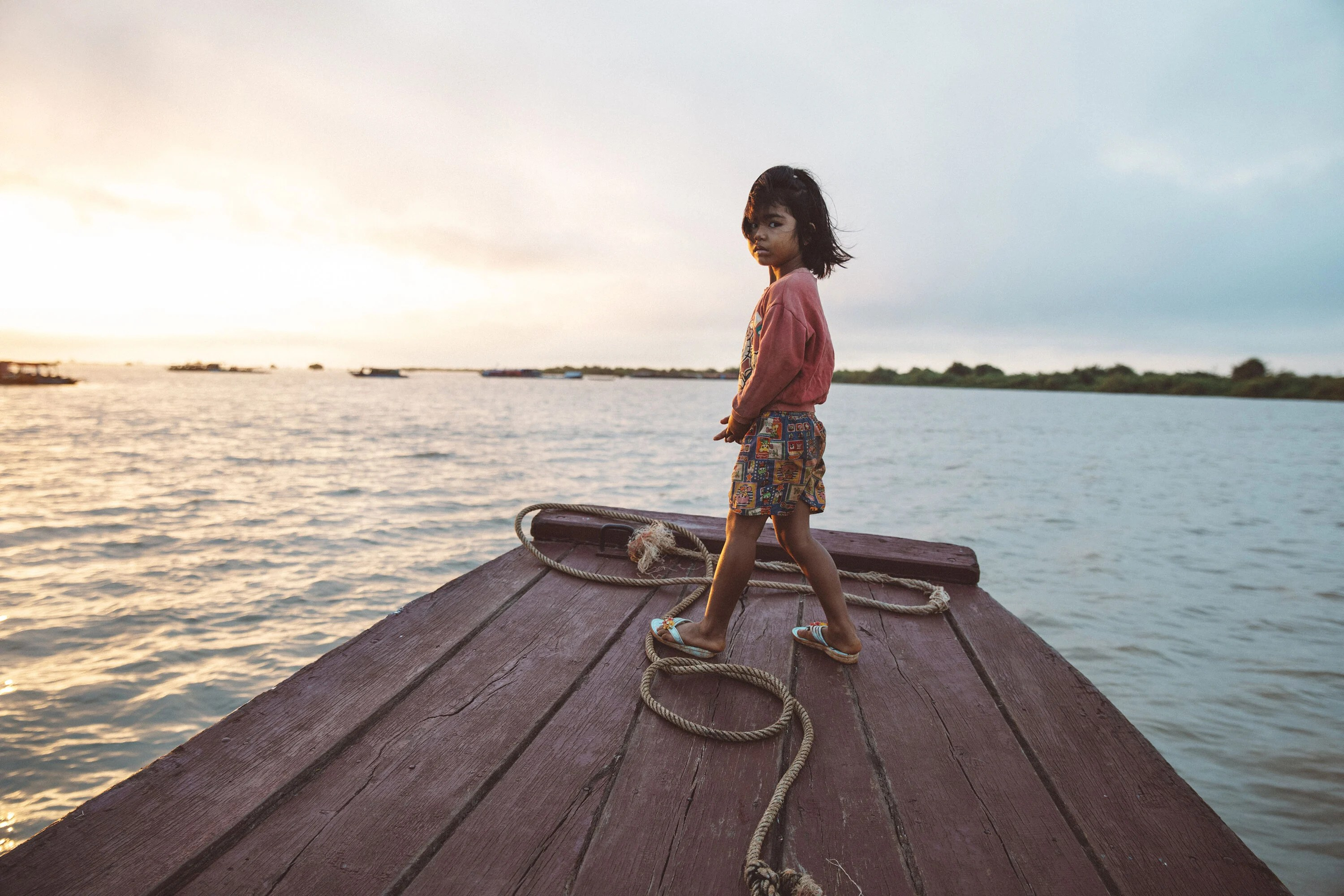 Child on the Tonle Sap Lake in Cambodia