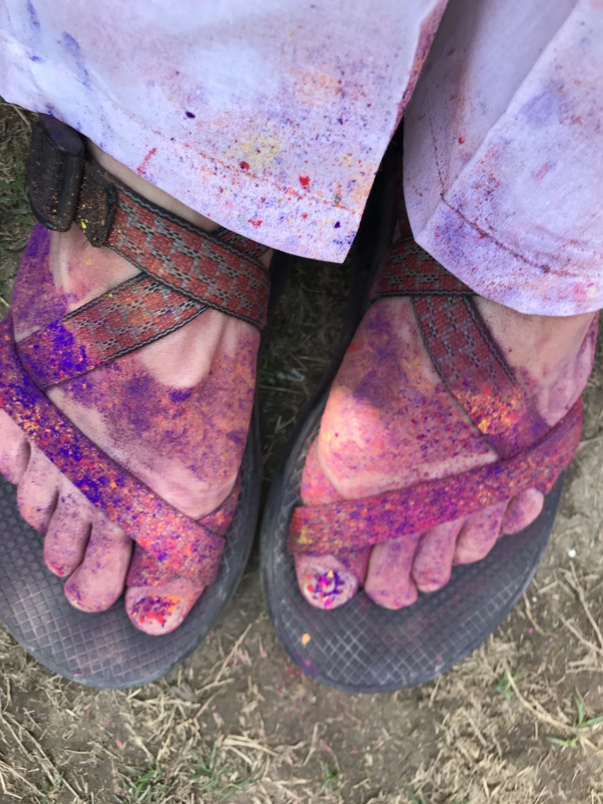 Feet covered with dye from Holi Festival
