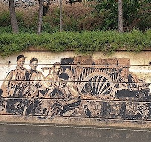 Pintura mural de arte urbano en Tudela en Navarra
