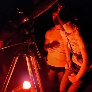 Niños en el Tour astronómico en Trujillo en la provincia de Cáceres