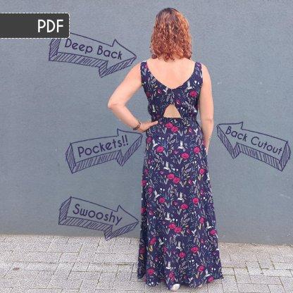 Rosalee Maxi Dress Sewing Pattern: PDF Version