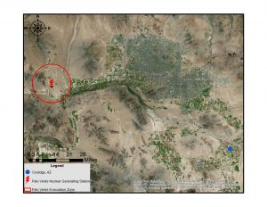 Position of Coolidge, AZ. relative to Palo Verde NGS