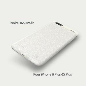 Coque chargeur BASEUS magnétique 3650 mAh pour iPhones 6+ & 6S+ 5.5 pouces Ivoire
