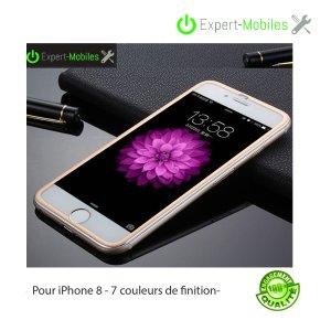 Verres trempés incurvés, bords en Titanium pour iPhones 8