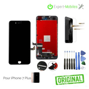 ECRAN LCD + VITRE TACTILE POUR IPHONE 7 PLUS NOIR APPLE RECONDITIONNE