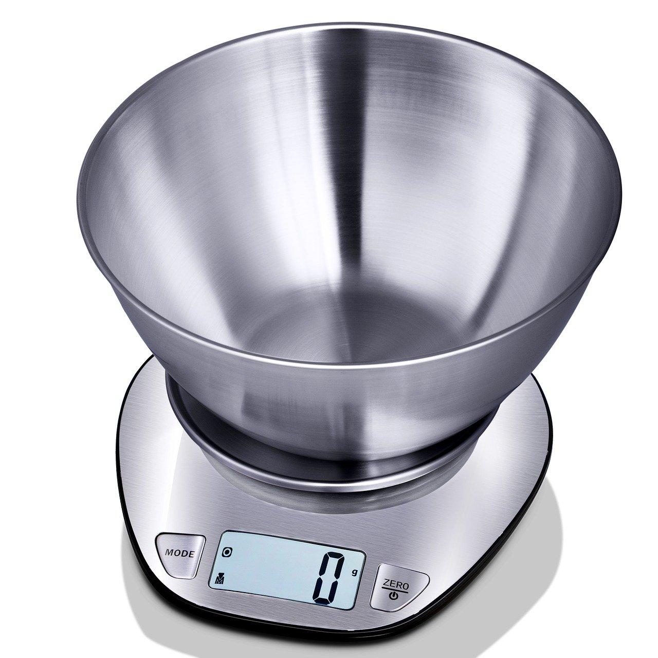Küchenwaagen bestehen aus vielen unterschiedlichen Materialien wie Kunststoff, Metall und Glas.