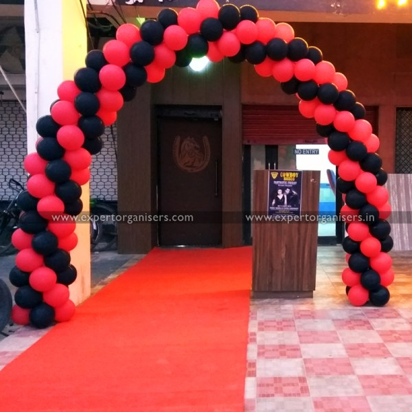 Red Black balloons entrance gate decoration chandigarh