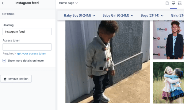 checking instagram feed api - asking for access token