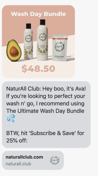 product recommendations sms