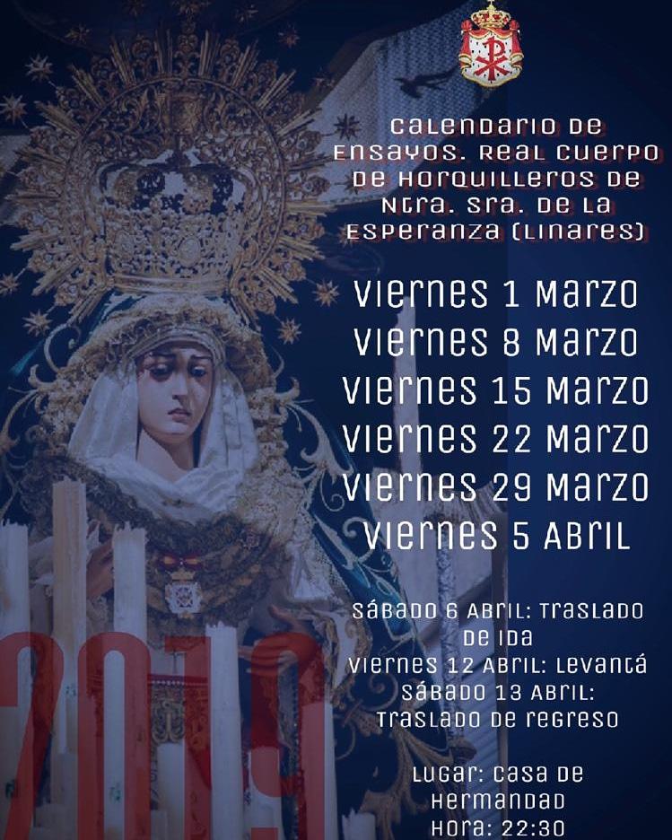 Calendario ensayos hombres de trono Esperanza 2019