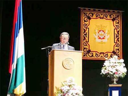 Antonio Tirado durante el pregón de la Patrona en 2018