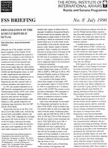 Privatization in the Kyrgyz Republic by Ian Pryde July 1996 Page 1 of 6