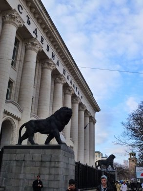 The ubiquitous lion, outside the courts in central Sofia.