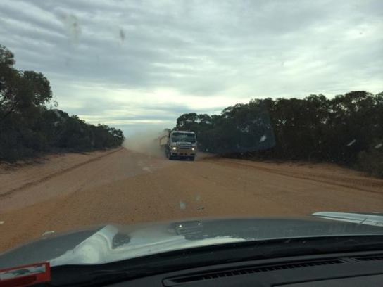 The road into Mungo National Park. The clouds of dust behind oncoming trucks in no way hampered us (!).