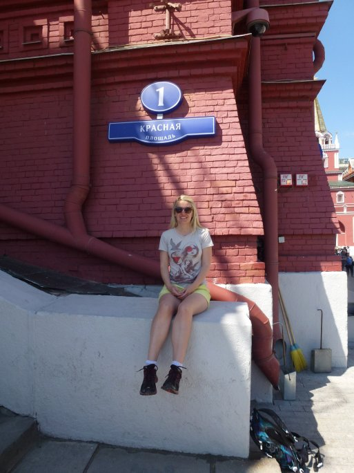 Me sitting at Number 1, Red Square. Next stop: world domination (that's how it works, right?!)
