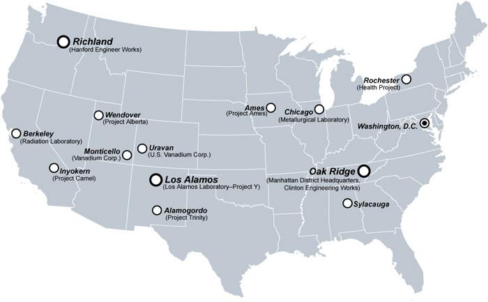 Localização dos pontos estratégicos do projeto Manhattan