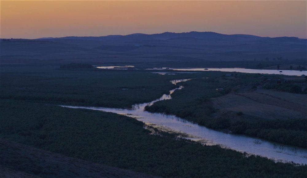 le fleuve de medjerda lors du coucher de soleil
