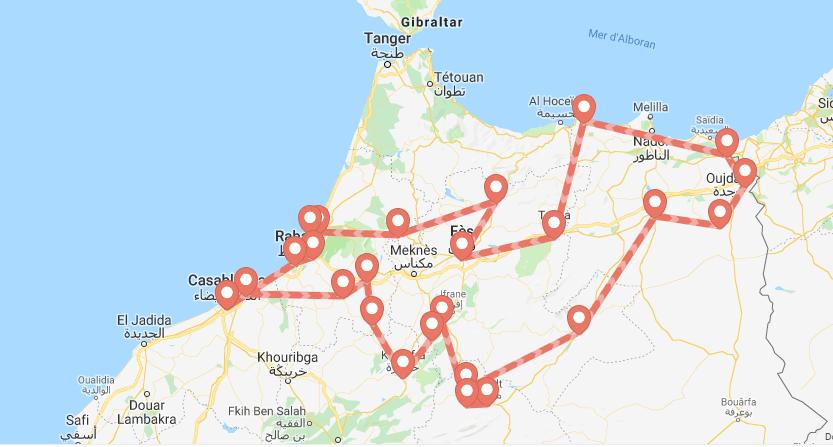 Itinéraire suivi pour la prospection de la Pie du Maghreb au nord du Marco
