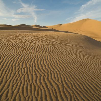 Huacachina Desert, Peru. Some time before the sunset, the light is already softening and giving the sand dunes a pretty golden colors. The shadows are also more present, which enhances the marks on the sand in the foreground.