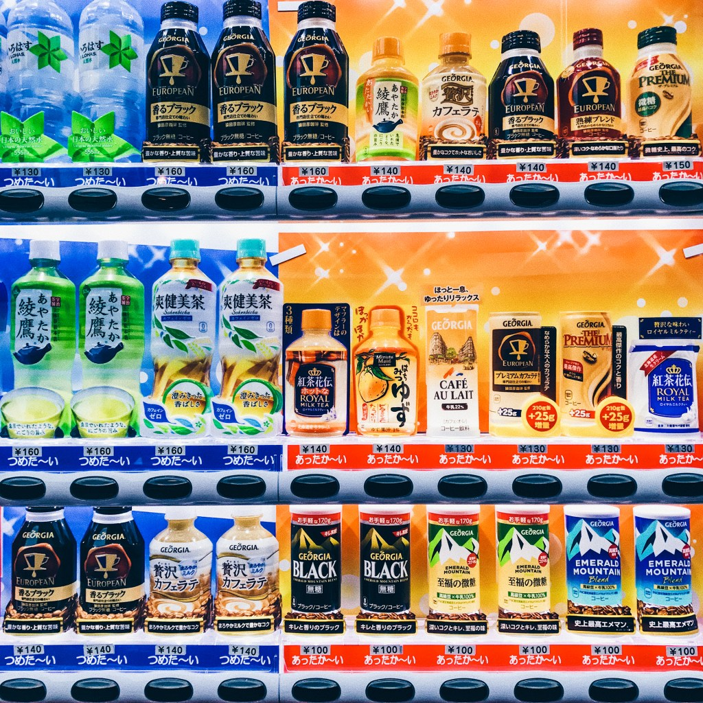 hot and cold drinks in a vending machine in Tokyo, Japan