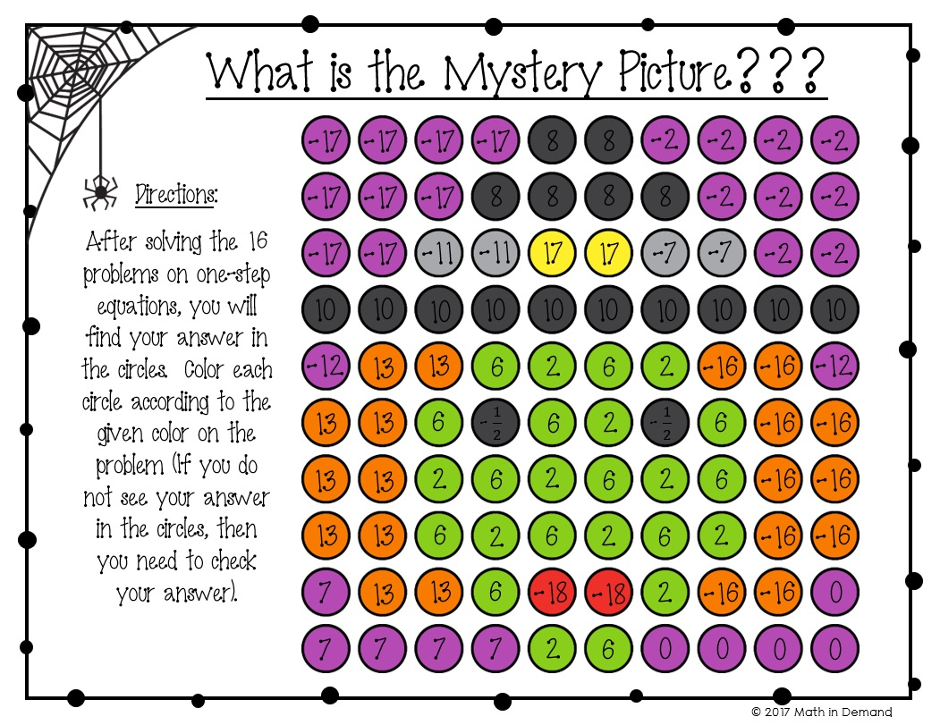 One Step Equations Halloween Coloring Worksheet
