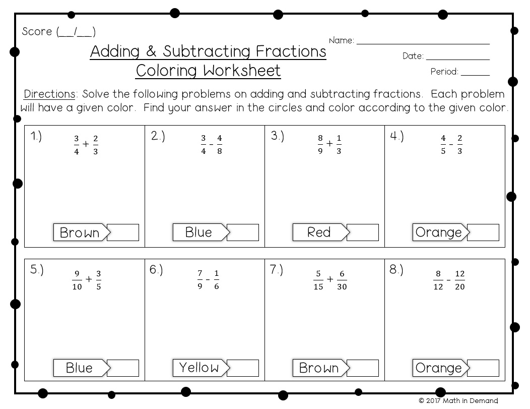 Adding And Subtracting Fractions Coloring Worksheet