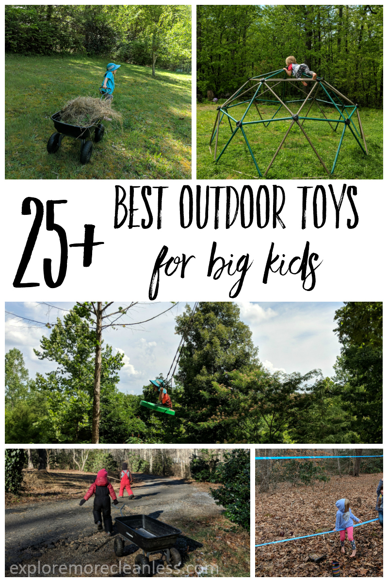 The best toys are sticks and rocks but sometimes you have to mix it up! Check out this gift guide style list of the best outdoor toys for big kids. A few classics and a few surprises, this list is great to share with gift giving relatives who ask for new idea! #giftguide #outdoors