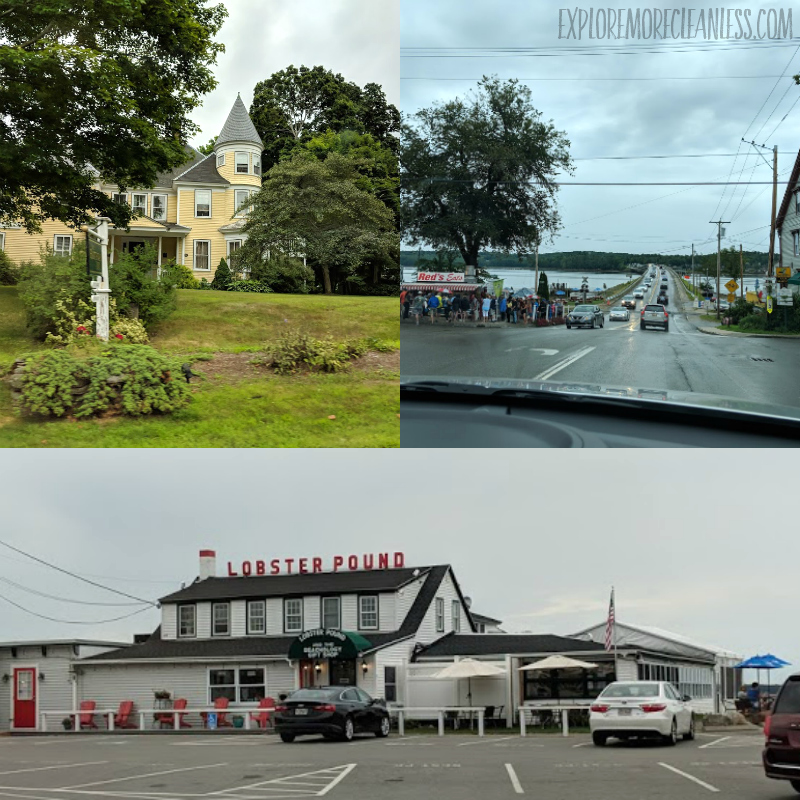 collage of route 1 maine sights with a lobster pound