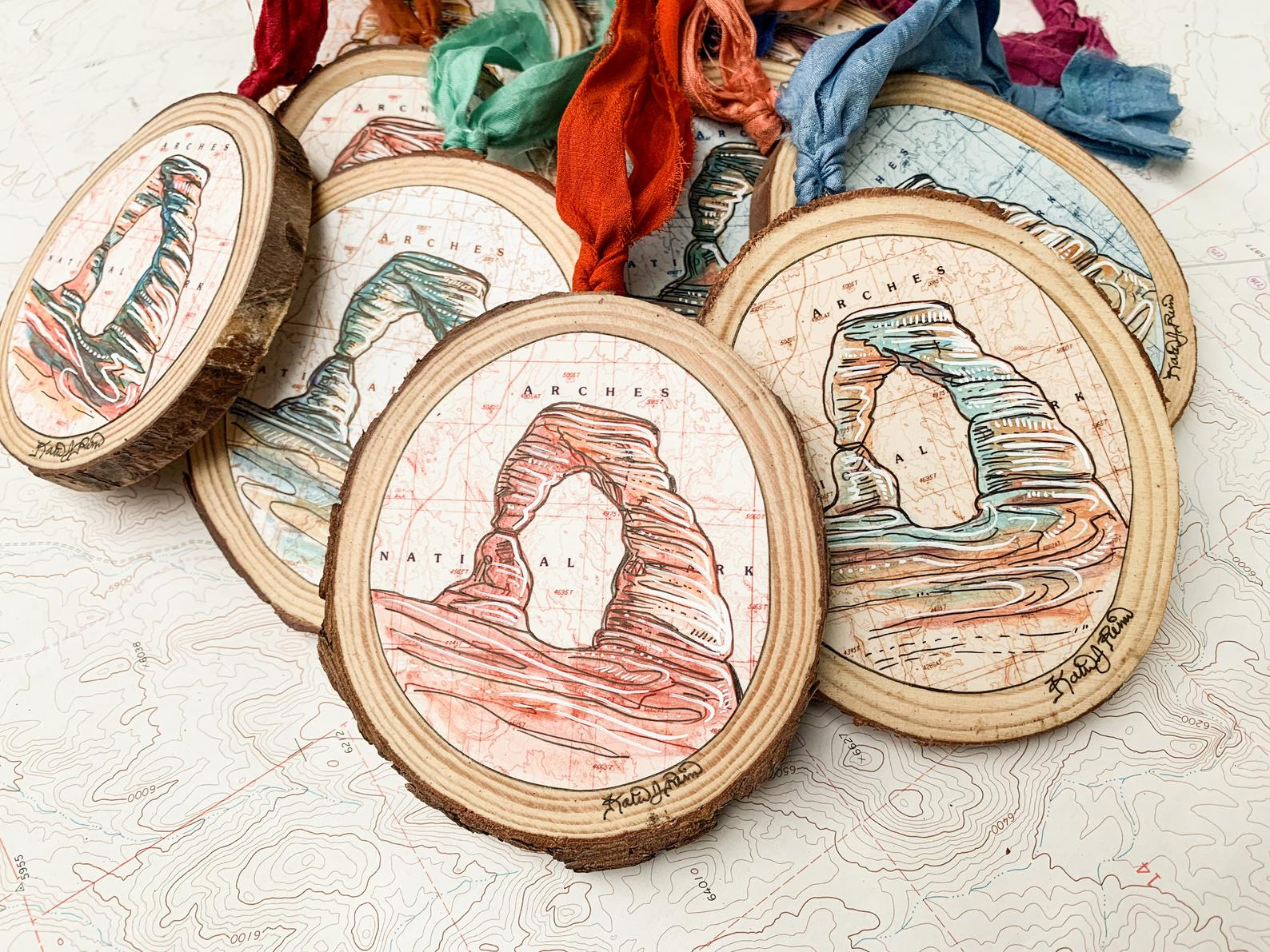 hand painted national park ornaments