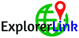 ExplorerLink Logo green globe with pin