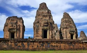three towered temple angkor archaeological park Siem Reap Cambodia