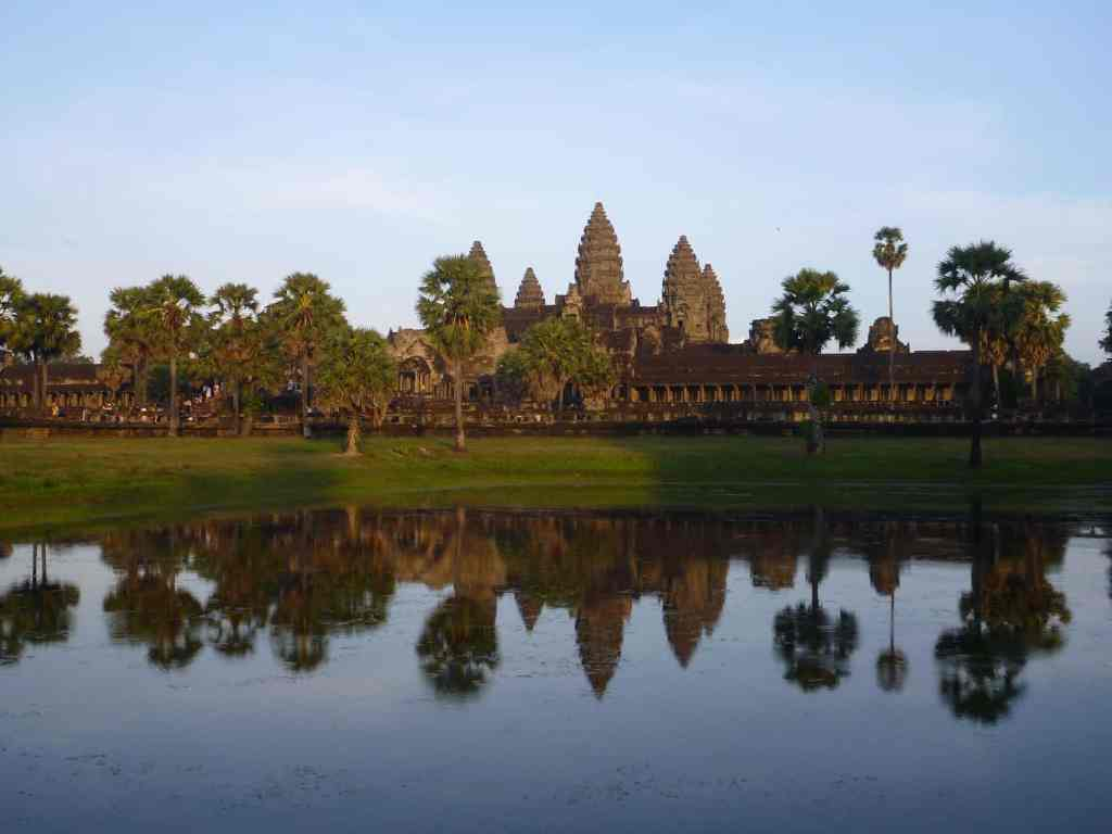 Angkor Wat reflected in a pond