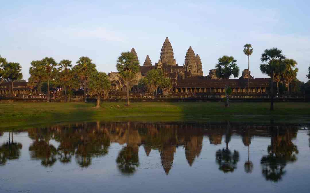 Angkor Wat reflected in a pond angkor archaeological park Siem Reap Cambodia 2017