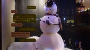 Texting Snowman in New York