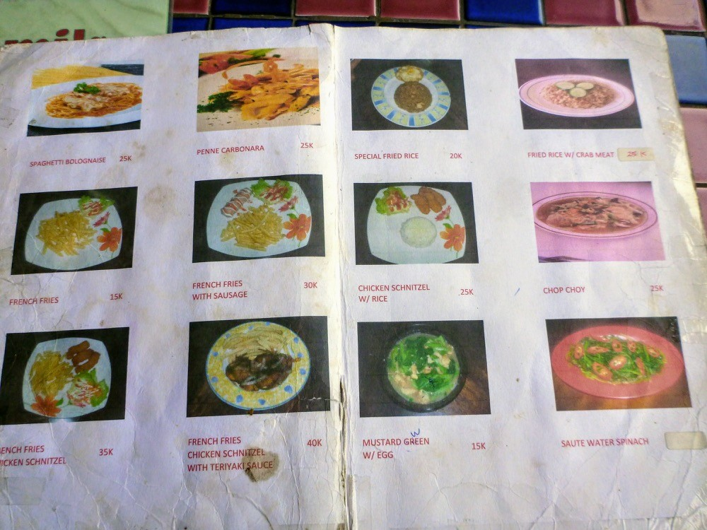 A page of the menu of d 'Mami's restaurant in Bali Indonesia