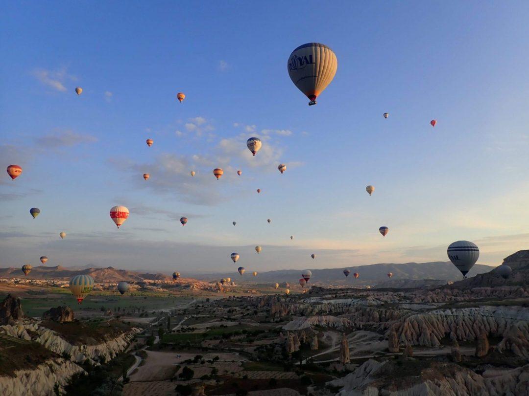 Balloons over Kizilcukur Valley Kızılçukur Vadisi Cappadocia Turkey