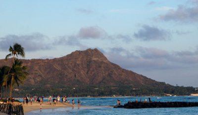 Diamond Head Waikiki Oahu Hawaii beach with people playing