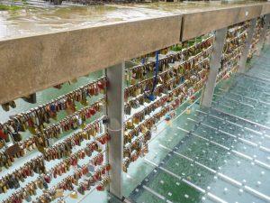 Love lock butcher's footbridge crossing the river
