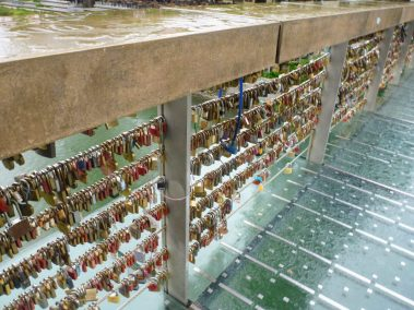 Love lock butcher's footbridge crossing the river