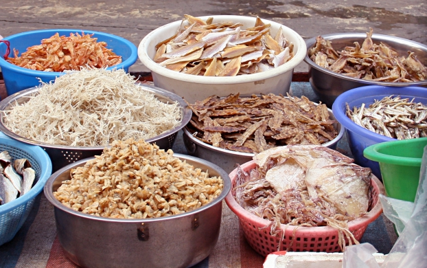 Dried seafood on a market in Tai O, Hong Kong