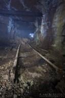 end of railway in a coal mine