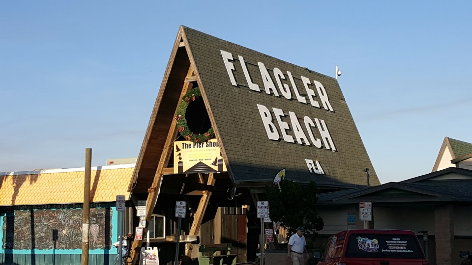 Shows a picture of The Pier Shop on the strip at Flagler Beach, Florida