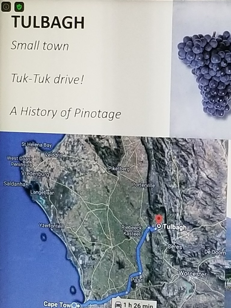 Shows a map of the South African wine town Tulbagh