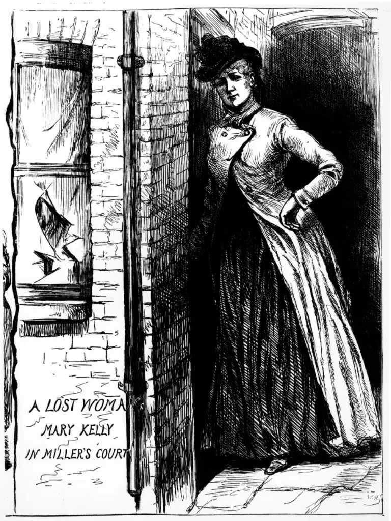 Drawing of Mary Jane Kelly, the last victim of Jack the Ripper