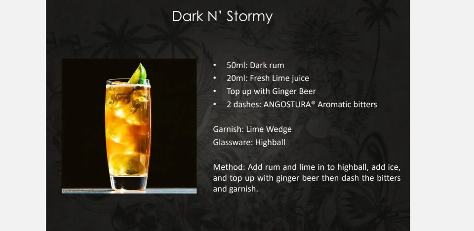 photo showing recipe for Dark n' Stormy a classic mixed drink with rum