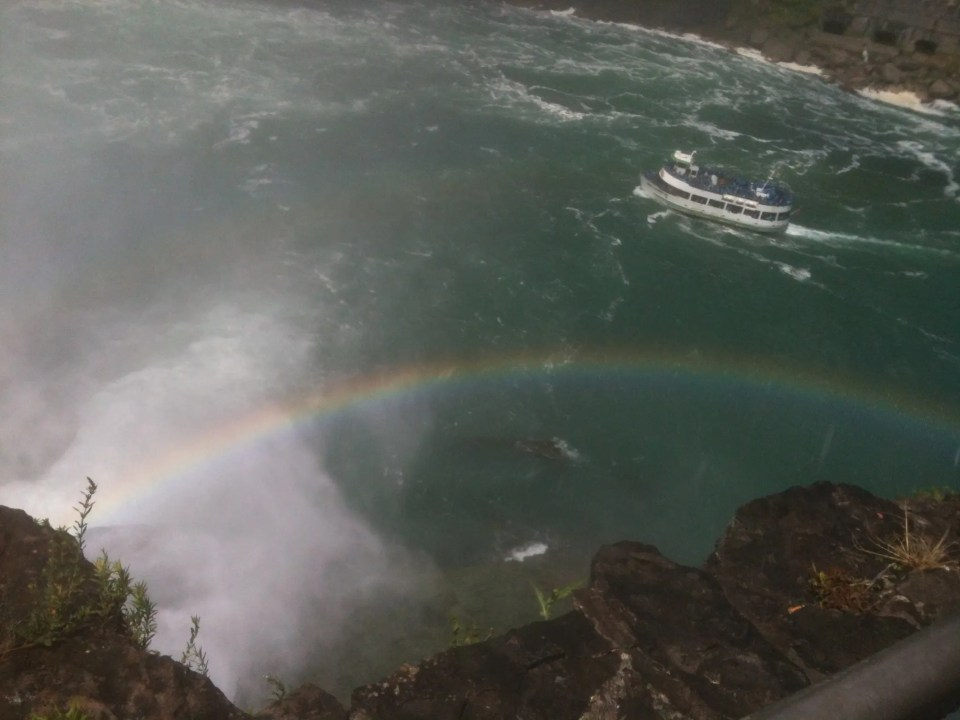 view of the Maid of the Mist from above Niagara Falls USA