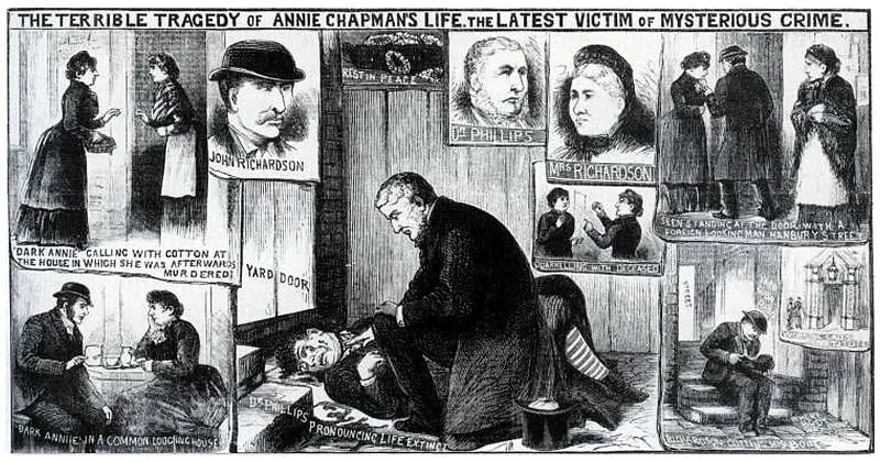 Newspaper page with jack the ripper crime scene pictures of Annie Chapman, the second victim if Jack the Ripper,  with the medical examiner