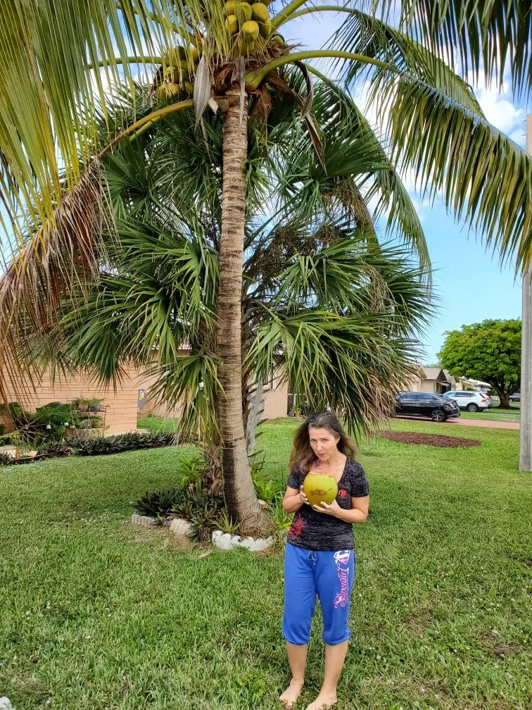 a woman living in south Florida drinking from a coconut