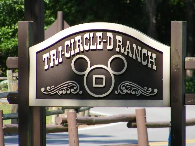 Signage for Tri-Circle-D Ranch, one of the activities while camping at Disney World